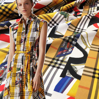 2019 new European and American digital printing cotton fabric yellow plaid color print dress shirt clothing handmade DIY fabric