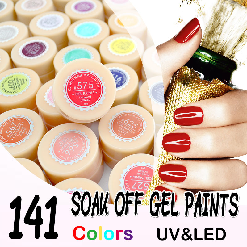 #516-534 canni soak off живопись гель 5 мл чистого цвета твердые LED/УФ-Гель Для Ногтей Дизайн краска Цвет ногтей Гелем лак