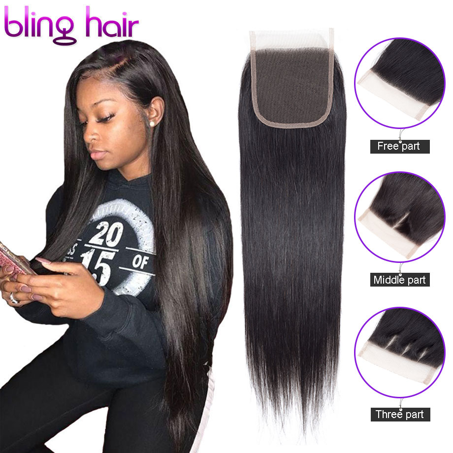 """Bling Hair 4 x 4 Brazilian Closure Straight Human Hair Free/Middle/Three Part Lace Closure 8""""-22"""" Natural Color Free Shipping"""