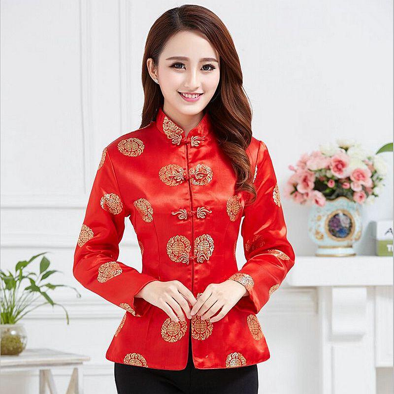 Kinesisk Traditionell Röd Kapp Kvinnors Silke Satin Jacka Bröllop - Nationella kläder - Foto 1