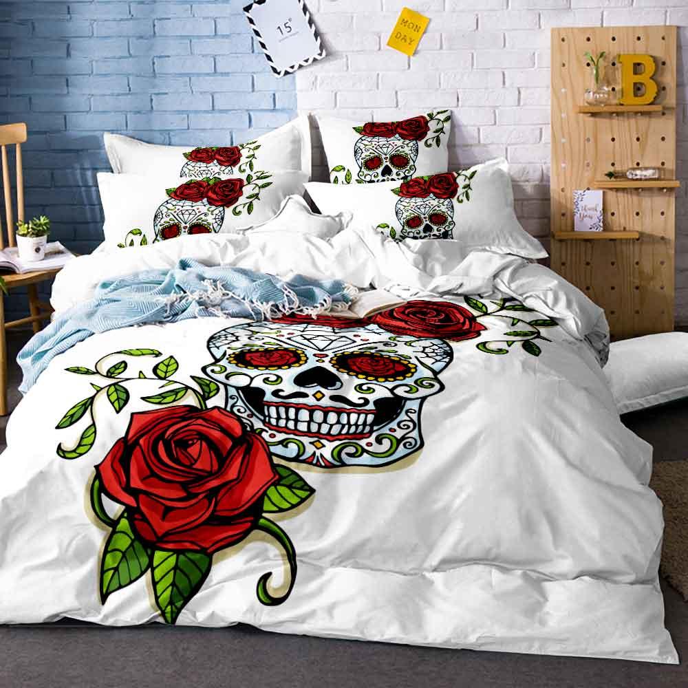 3/4 pièces Rose crâne imprimer reine couette ensemble de literie matelas literie King Twin taille luxe 3d lit ensemble couverture draps E