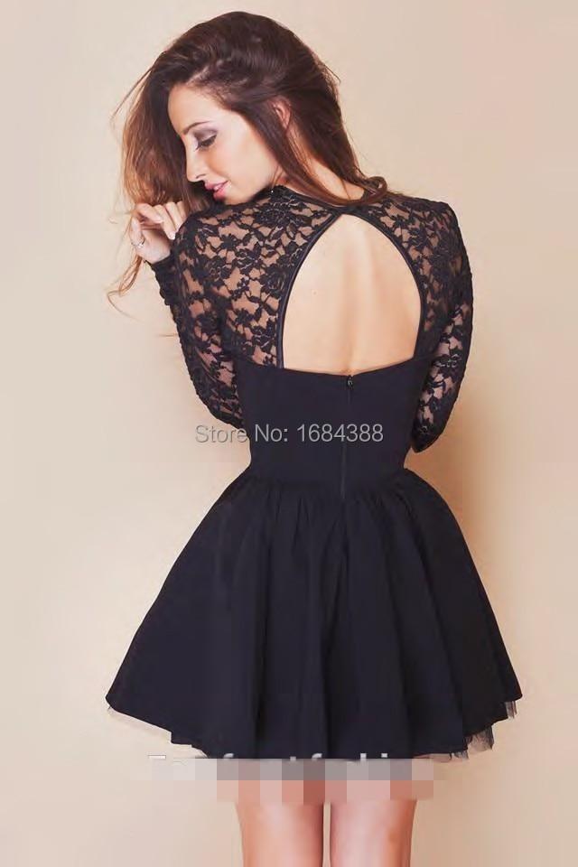 Black long sleeve short lace dress