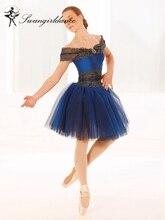 أداء مرحلة غنائي راقصة الباليه اللباس توتو الفتيات الكبار زي الرقص الأزرق رومانسية توتو اللباس الطفل BL0057