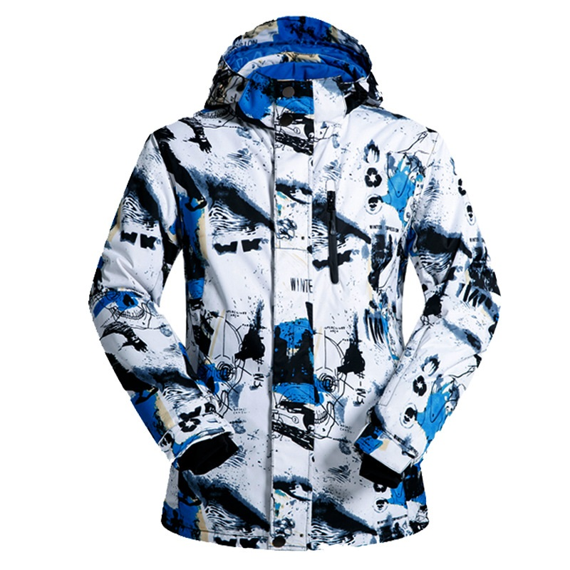 Men ski jacket winter letter Geometric print Slim Thickened ski jacket Windproof waterproof Skiing Jackets men geometric print wrap shorts