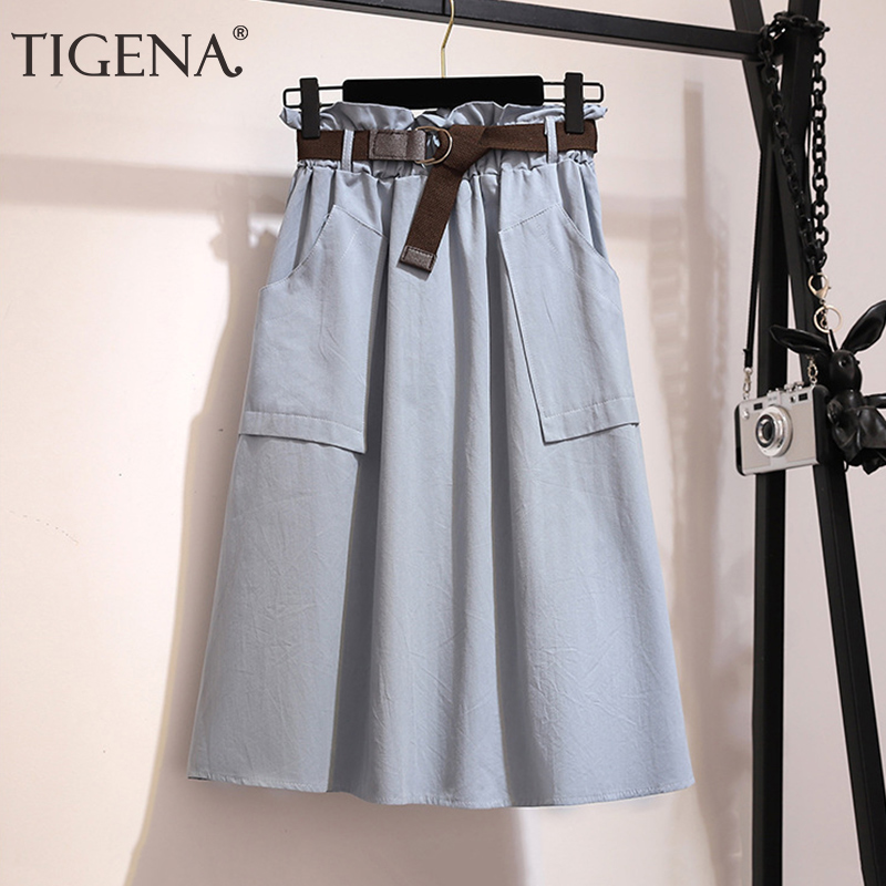 TIGENA Fashion Midi Skirt Women 2019 Spring Summer High Waist Knee Length Skirt Female With Belt Pocket School Skirt Green Blue