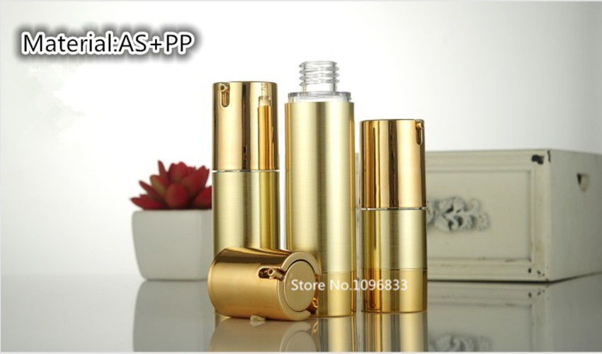 20PCS Airless Pump Bottle Gold Color PP Bottle Airless Vacuum Eye Cream Essence oil Lotion Pump