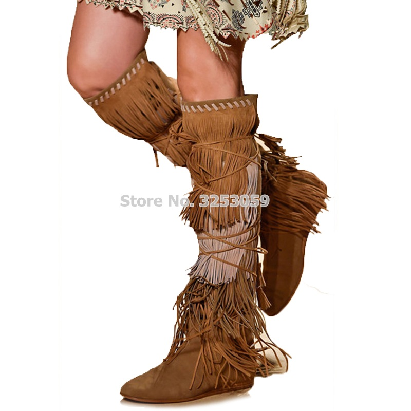 ALMUDENA Classic Brown Blue Sude Fringe Knee High Boots Lace-up Low Heel Drape Tassel Shoes Long Boots Celebrity Gladiator Shoes цена 2017