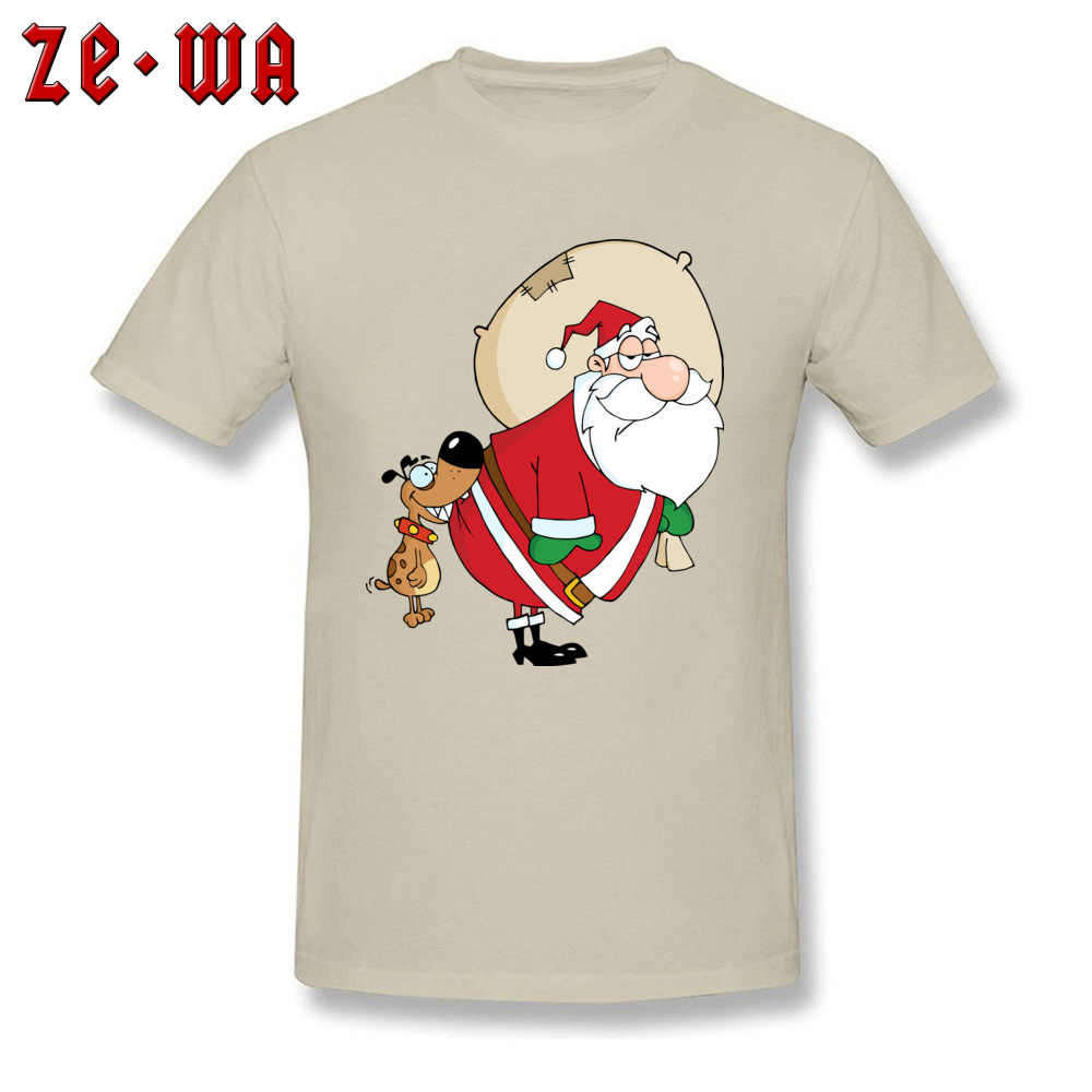 d4615a36 Beige T-shirt Men Fitness Tshirt Ho Ho Santa Claus Tees Funny Cartoon  Clothes Dog