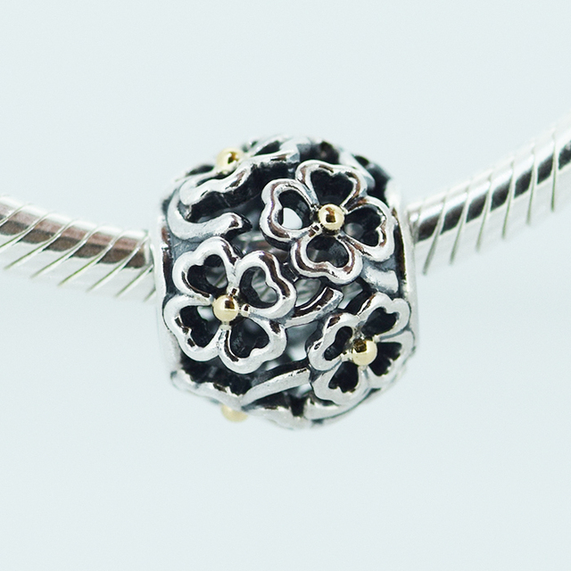 Serve para Charms Pandora Pulseira 925 Sterling Silver Bead Céu Aberto Quatro Floral Charme Mulheres DIY Jóias Pulseiras & Colares