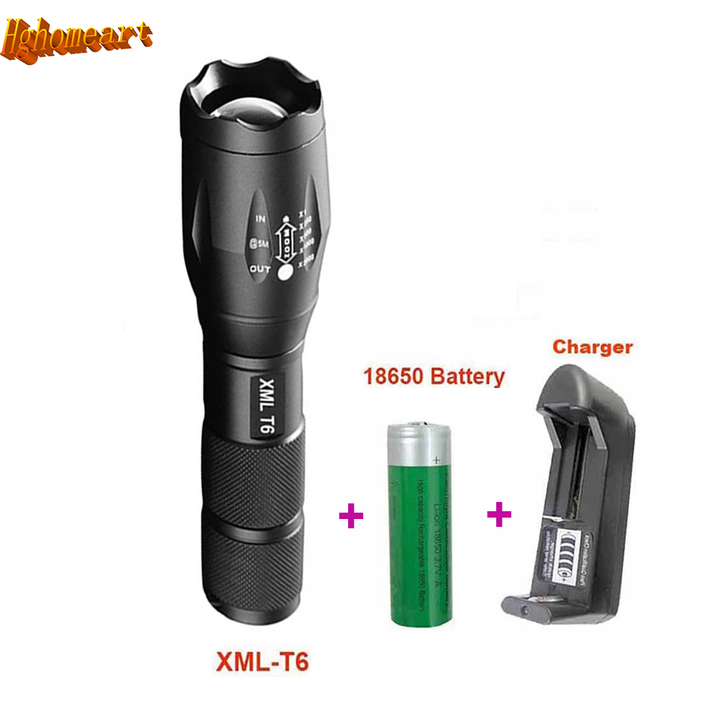 5-Mode 3800 Lumens Zoomable LED Flashlight Torch Waterproof XM-L T6 E17 Rechargable Flashlights Torches for 18650 Battery or AAA e007 zoomable 18650 led flashlights xm l t6 18650 aaa flashlight torch 1 18650 battery ac