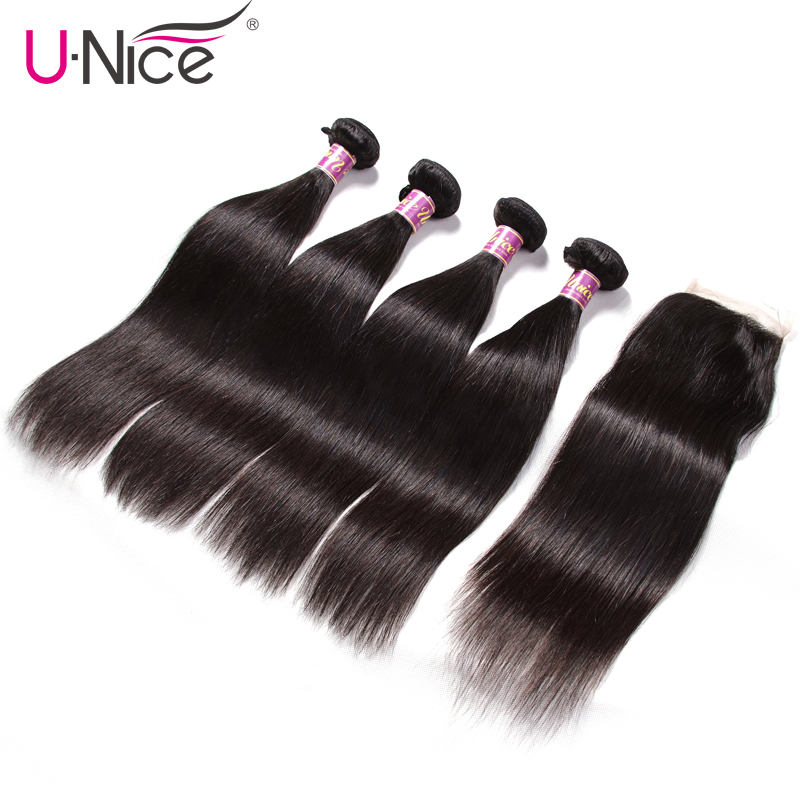 UNICE HAIR 4 Bundles with Closure Malaysian Straight Hair Weave with Closure Natural Color Remy Hair