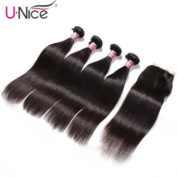UNICE HAIR 4 Bundles with Closure Malaysian Straight Hair Weave with Closure Natural Color Remy Hair Swiss Lace Closure 5 PCS - DISCOUNT ITEM  30% OFF All Category