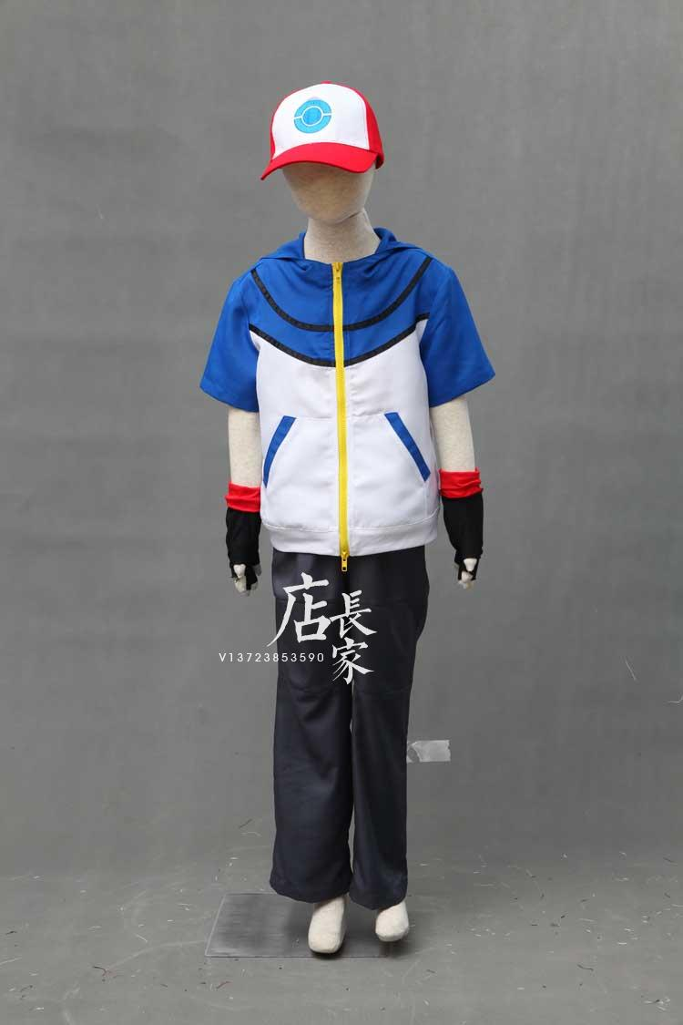 new children size outfit Pokemon Ash Ketchum Pocket Monster BW-Ash Katchum cosplay costume