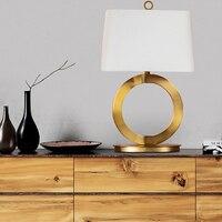 Американский кантри Винтаж Гостиная золото металлическое кольцо Настольная лампа с ткань прикроватный Абажур Настольная лампа для изучен
