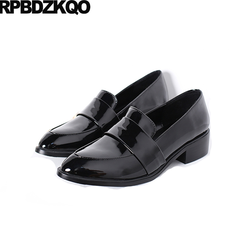 Ladies Beautiful Flats Shoes Slip On Size 35 Pointed Toe Work 2017 Chinese Patent Leather Black Footwear China Female Spring enmayer pointed toe summer shallow flats slip on luxury brand shoes women plus size 35 46 beige black flats shoe womens