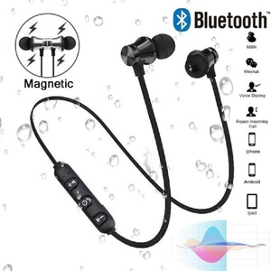 Image 1 - Sport Draadloze Bluetooth Oortelefoon Headset Magnetische Draadloze Hoofdtelefoon Stereo Bass Muziek Oortjes oordopjes met Microfoon voor Xiaomi