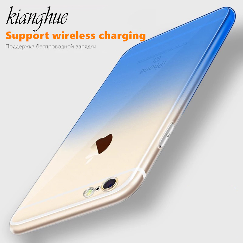 For iPhone X Case,Gradient Color Soft Transparent Silicone Case Cover Plain Phone Shell For iPhone 6 6S 7 8 Plus X Shockproof