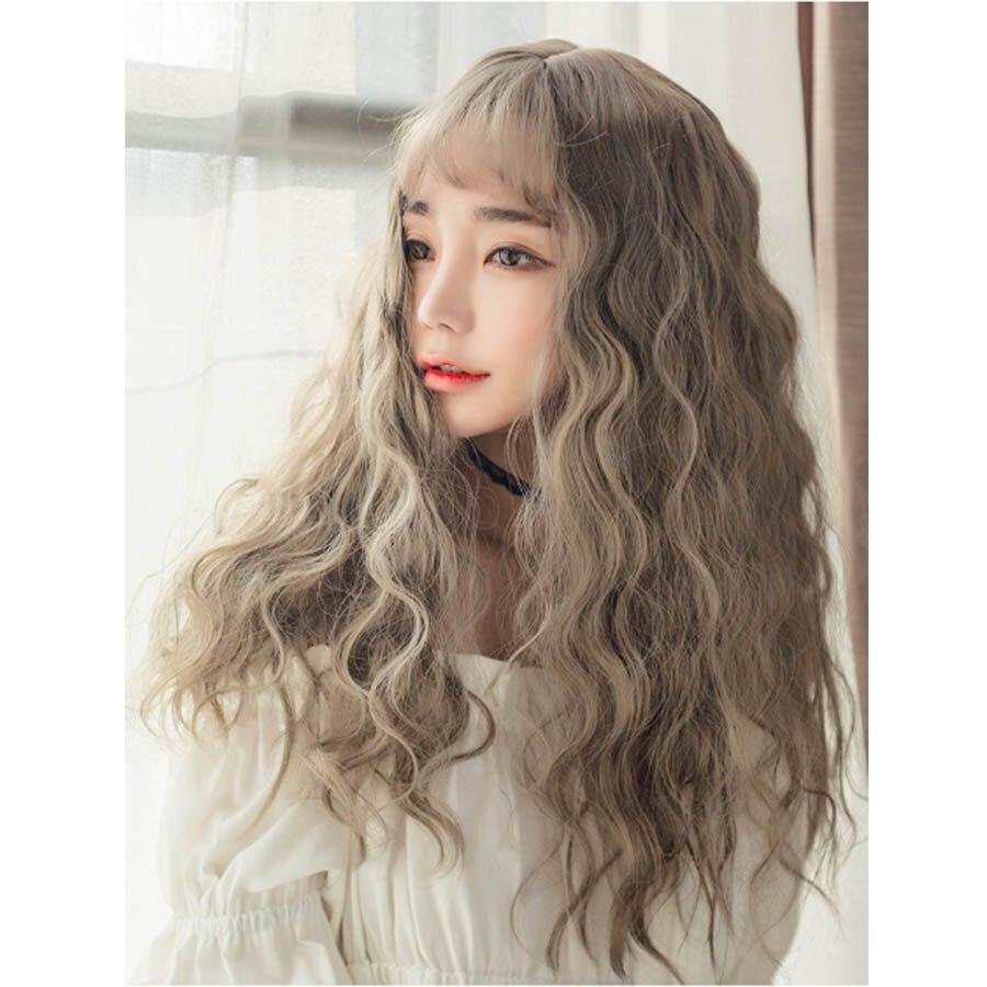 WEILAI Harajuku soft sister lolita long curly hair corn silk wig student girl Lolita corn perm cos wig woman Headwear fishtail braid with hair accessory