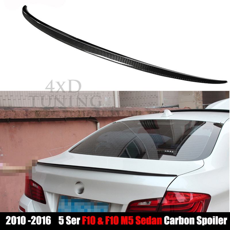 M5 Style For BMW F10 Spoiler 2010 - 2017 5 Series F10 & F10 M5 Carbon Fiber Rear Spoiler 520i 528i 535i 530i 525i replacement car styling carbon fiber abs rear side door mirror cover for bmw 5 series f10 gt f07 lci 2014 523i 528i 535i