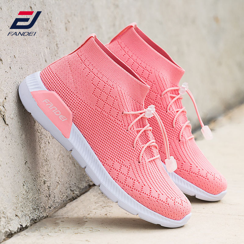 FANDEI spring women running shoes sport shoes breathable mesh women sock sneakers sport walking shoes zapatillas hombre MID Cut термоноски guahoo sport mid weight 150 cf bk