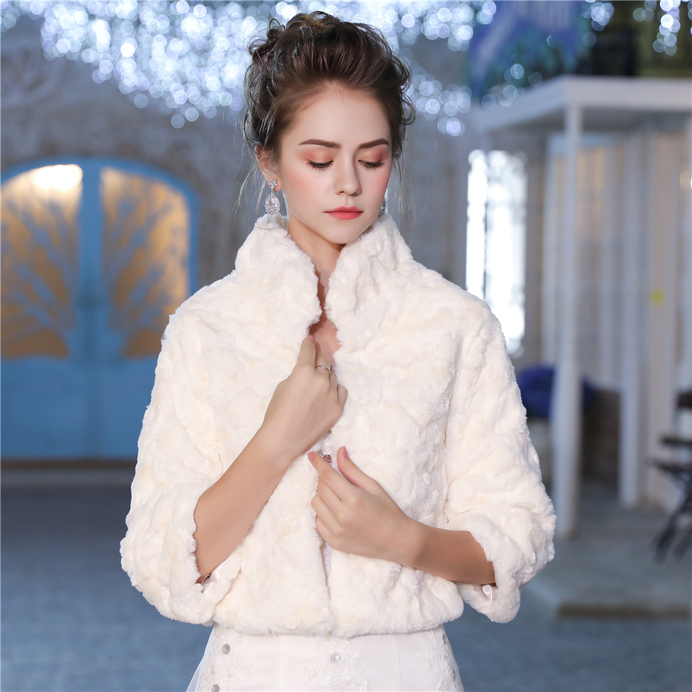 206d57ff1 Marfil Faux Fur Bolero chaqueta 3/4 manga longitud nupcial boda invierno  abrigo novia damas de honor ...