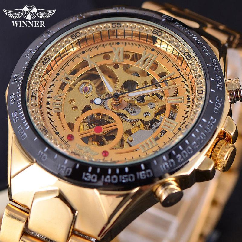 Prix pour GAGNANT Automatique Mécanique Montres Top Marque De Luxe Hommes de Montre-Bracelet Hommes Sport Militaire Horloge Mâle D'affaires Squelette Horloges