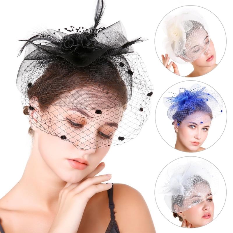 Bridal Fascinator Bridal Headwear Flowers Feather Beads Hair Veil Womens Wedding Party Accessory Gai