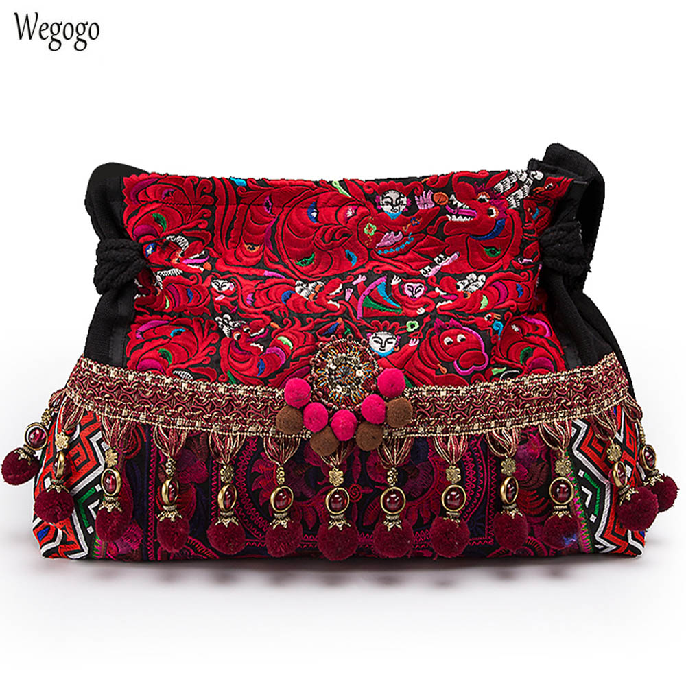 Casual Women Handbag National Thai Style Floral Embroidery Boho Canvas Shoulder Messenger Bags Vintage Tassel Travel Totes