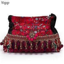Sac à main en toile brodée pour femmes, sac National indien Floral Boho, sacs à bandoulière à pompon, grand fourre tout de voyage