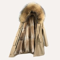 real fur parkas women fur parka raccoon winter parka real fur Lined with natural rabbit fur parkas