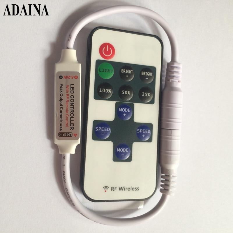 11 Keys DC 5V-24V 12A RF Wireless Mini Dimmer Remote Controller for Single Color 3528 5050 LED Strip/Copper Wire String Light wireless led single color dimmer w remote controller dc 12 24v