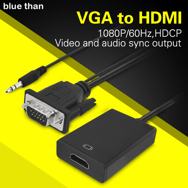 blue than VGA to HDMI Converter Adapter Output 1080PHD with Audio VGA2HDMI TV AV to HDTV Video Cable Converter Adapter for TV PC