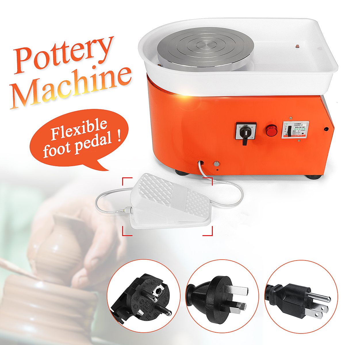 EU/AU AC 220V 250W Pottery Wheel Machine 25cm With Mobile Foot Pedal Ceramic Work Ceramics Clay Art Smooth Speed Low Noise