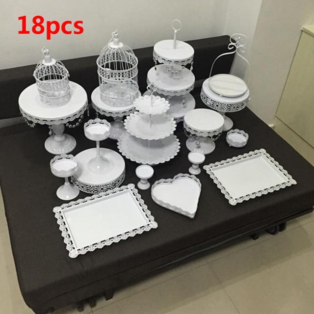 White Wedding Cake Stand Set 18 Pieces Christm Cupcake Stand Barware