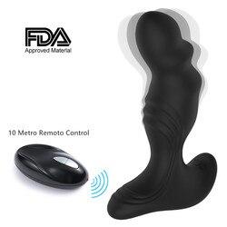 Prostate Massager Anal Sex Toy With Power Motor vibrator Men 7 Stimulation Patterns Wireless Remoto Control Anal Pleasure Women