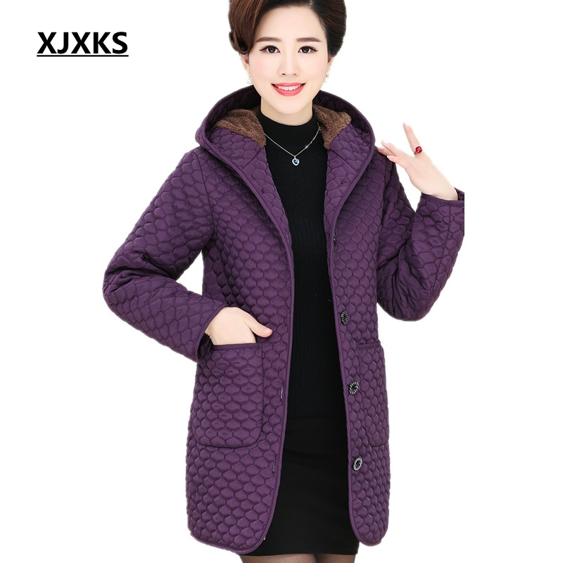 XJXKS New 2017 Winter Autumn Jacket Women Padded Coat With Pocket Hooded Slim Long Coat Middle-aged Woman   Parkas