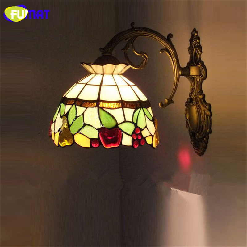 FUMAT Wall Lamp Mediterranean Tiffanylamp Cherry Grape Stained Glass Shade Lamps Lighting Fixtures Wall Sconce LED
