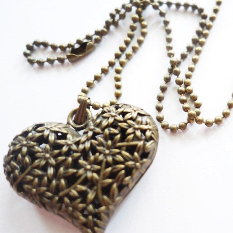 Vogue Antique Silver/Bronze/Gold 3D Big Hollow Heart Long sweather Chain Necklace Pendant