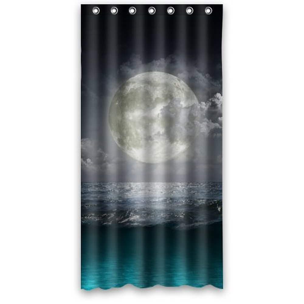 36wX72h Inch Darkness In The Night Beautiful Sea And Graceful Moon Shower Curtain Waterproof Polyester Fabric Bath