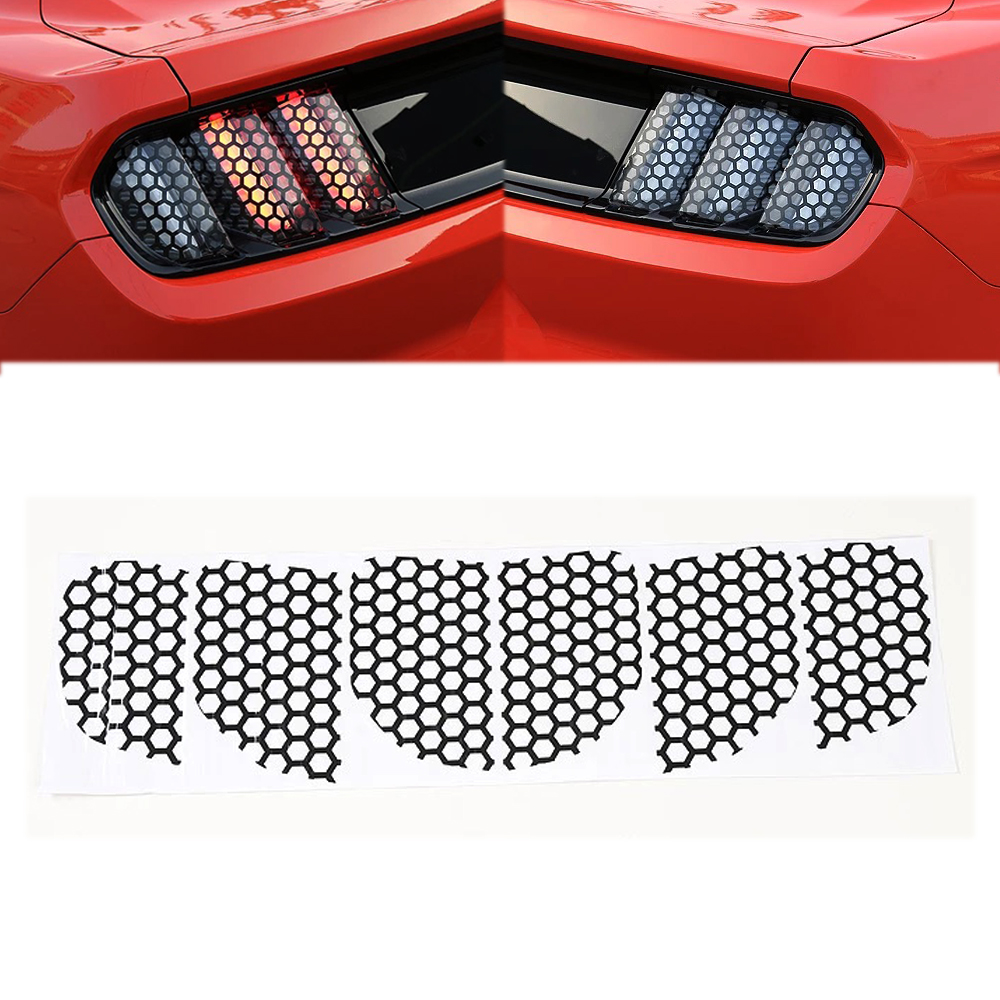 Car Styling Fashion Exterior Rear Taillight Tail Light Lamp Honeycomb Sticker Cover Trims Fit For Ford Mustang 2015 2016 2017 car styling tail lights for toyota highlander 2015 led tail lamp rear trunk lamp cover drl signal brake reverse