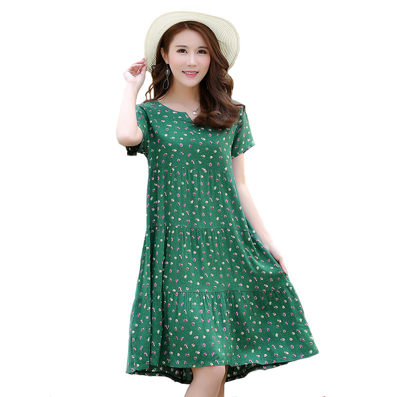 2019 Tops New Arrival Women Summer Dress Print Plus Size Women Casual Short Sleeve Dresses Vestido De Festa
