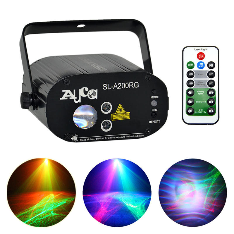 AUCD Mini Red Green Laser Light Mixed Aurora RGB LED Remote Music Party Disco Show DJ Home Wedding Stage Lighting W-A200RG slw 8095 2 5 led screen carnival duck home shooting game set w music authentic sounds red