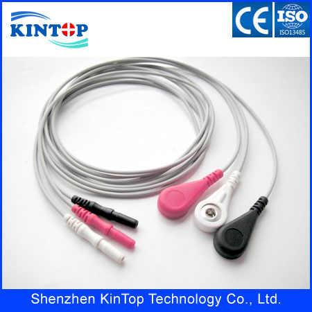 Compatibe nuevos accesorios ECG holter cable 3leadwires DIN 1,5 estilo snap AHA para monitor de paciente con CE aprobado
