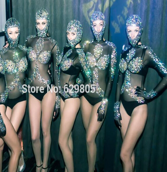 Sexy Shining Leotard Crystals Outfit Black Perspective Singer Rhinestone Bodysuit One Piece Gauze Sparkling Diamond Costume