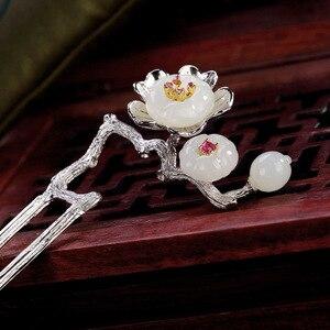 Image 3 - Naturalny nefryt Vintage kwiat śliwy kwiatowa do włosów kij 925 Sterling Silver szpilka wsuwka akcesoria artystyczne