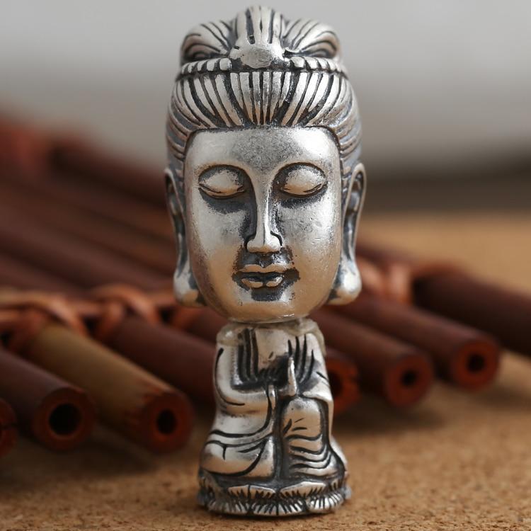 купить Handmade 990 Silver Avalokitesvara Bodhisattva Mala's Guru Bead Pure Silver Tibetan Mala's Guru Buddhist Prayer Beads Guru Bead по цене 3110.8 рублей