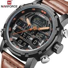 NAVIFORCE для мужчин s часы Лидирующий бренд Роскошные спортивные часы кожаный ремешок 30 м водостойкий Miliary двойной наручные часы с дисплеем часы 2019