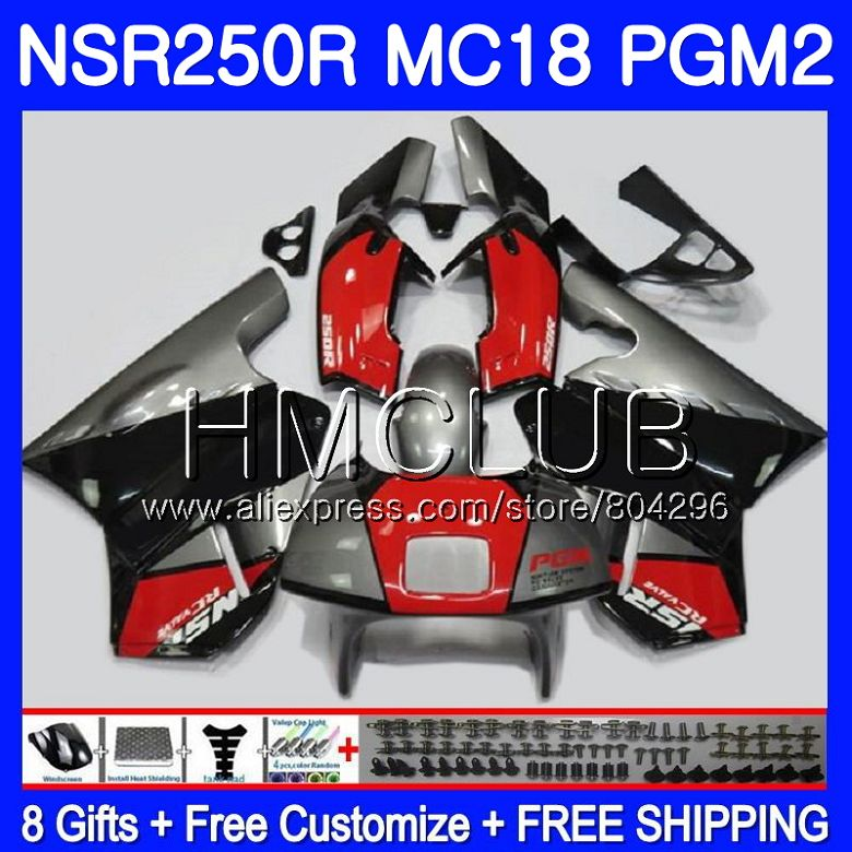 Kit For HONDA <font><b>NSR</b></font> <font><b>250</b></font> R MC18 PGM2 <font><b>NSR</b></font> 250R NS250 NSR250R 88 89 93HM.20 NSR250 R RR NSR250RR 1988 1989 88 89 Red black Fairing image