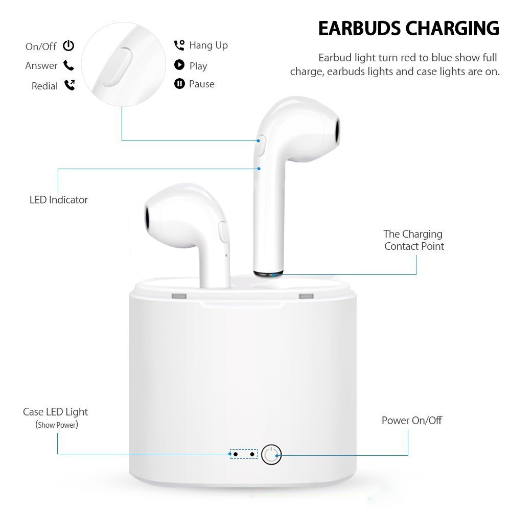 i7 s TWS Twins Wireles Earphone Mini In-Ear Music earpods Bluetooth Earbuds Stereo Headset For Iphone 7 8 with mic charging