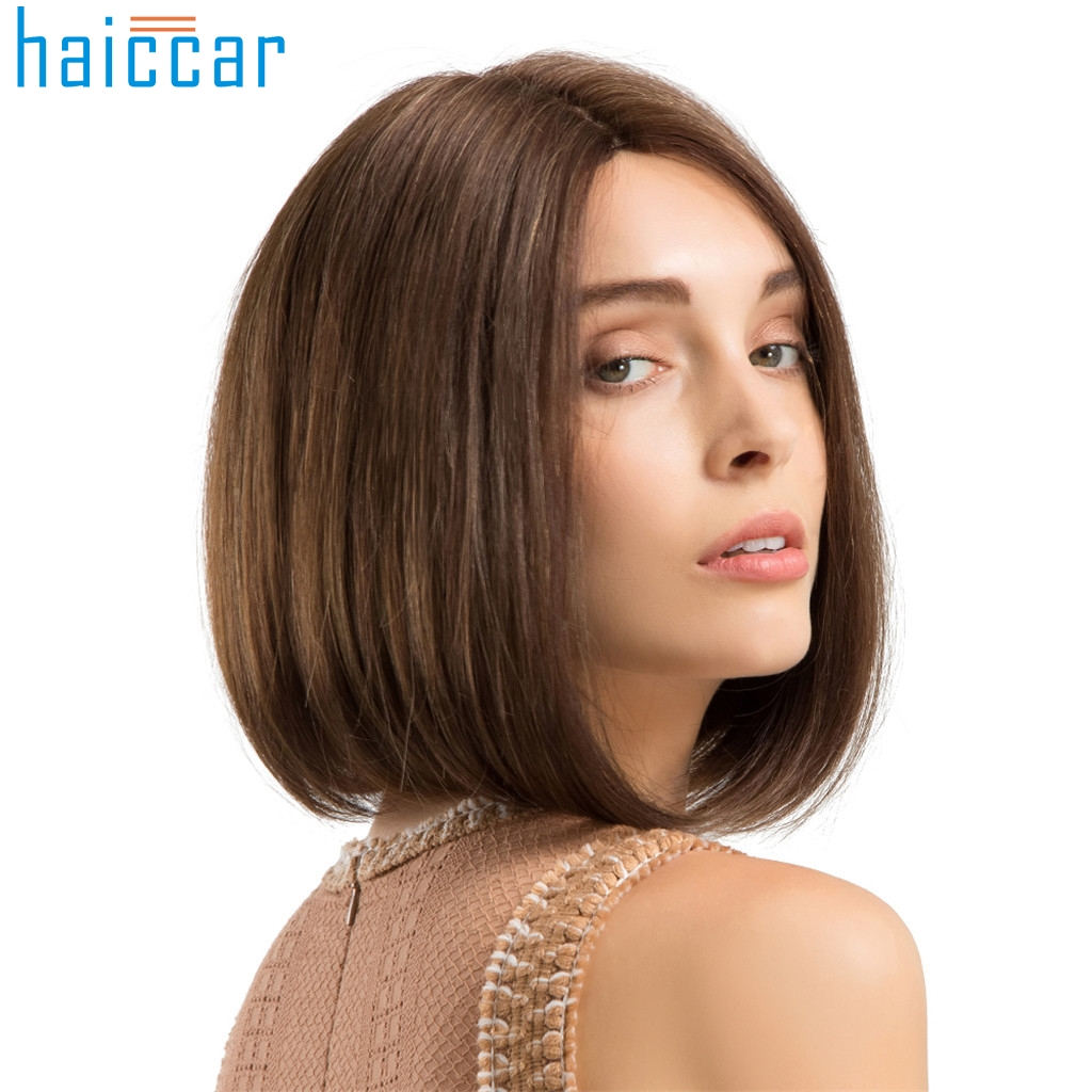 Synthetic None-lacewigs Generous Inhair Cube Natural Straight Synthetic Heat Resistant Fiber Long Ombre Light Brown Hair Salon Inclined Bangs Hairpiece